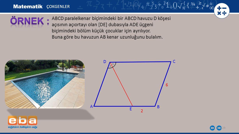 ÇOKGENLER ÖRNEK : ABCD paralelkenar biçimindeki bir ABCD havuzu D köşesi açısının açıortayı olan [DE] dubasıyla ADE üçgeni.